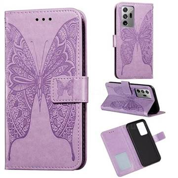 Intricate Embossing Vivid Butterfly Leather Wallet Case for Samsung Galaxy Note 20 Ultra - Purple