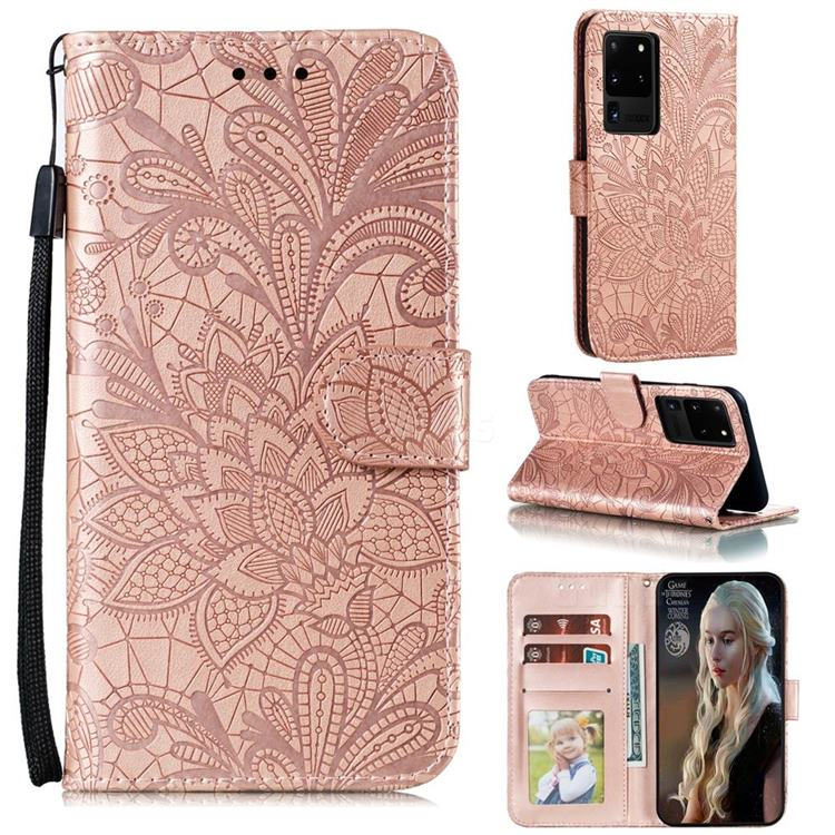Intricate Embossing Lace Jasmine Flower Leather Wallet Case for Samsung Galaxy Note 20 Ultra - Rose Gold