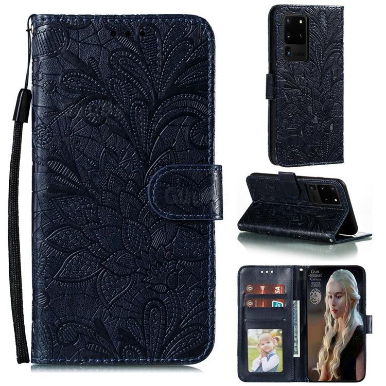Intricate Embossing Lace Jasmine Flower Leather Wallet Case for Samsung Galaxy Note 20 Ultra - Dark Blue