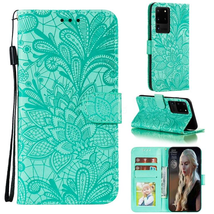 Intricate Embossing Lace Jasmine Flower Leather Wallet Case for Samsung Galaxy Note 20 Ultra - Green