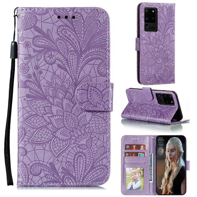 Intricate Embossing Lace Jasmine Flower Leather Wallet Case for Samsung Galaxy Note 20 Ultra - Purple
