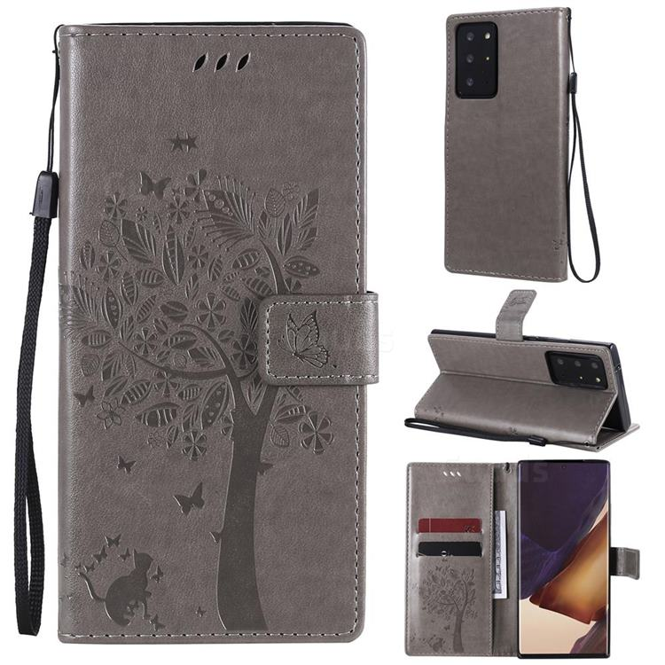 Embossing Butterfly Tree Leather Wallet Case for Samsung Galaxy Note 20 Ultra - Grey
