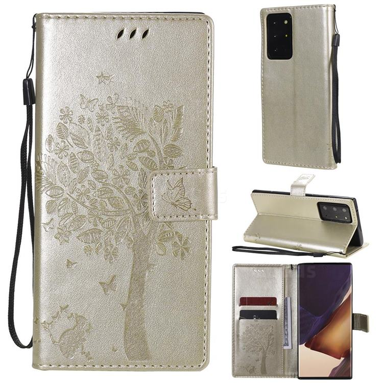 Embossing Butterfly Tree Leather Wallet Case for Samsung Galaxy Note 20 Ultra - Champagne