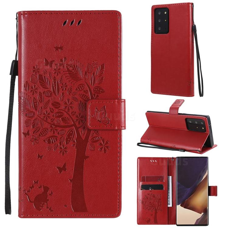 Embossing Butterfly Tree Leather Wallet Case for Samsung Galaxy Note 20 Ultra - Red