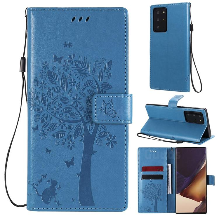 Embossing Butterfly Tree Leather Wallet Case for Samsung Galaxy Note 20 Ultra - Blue