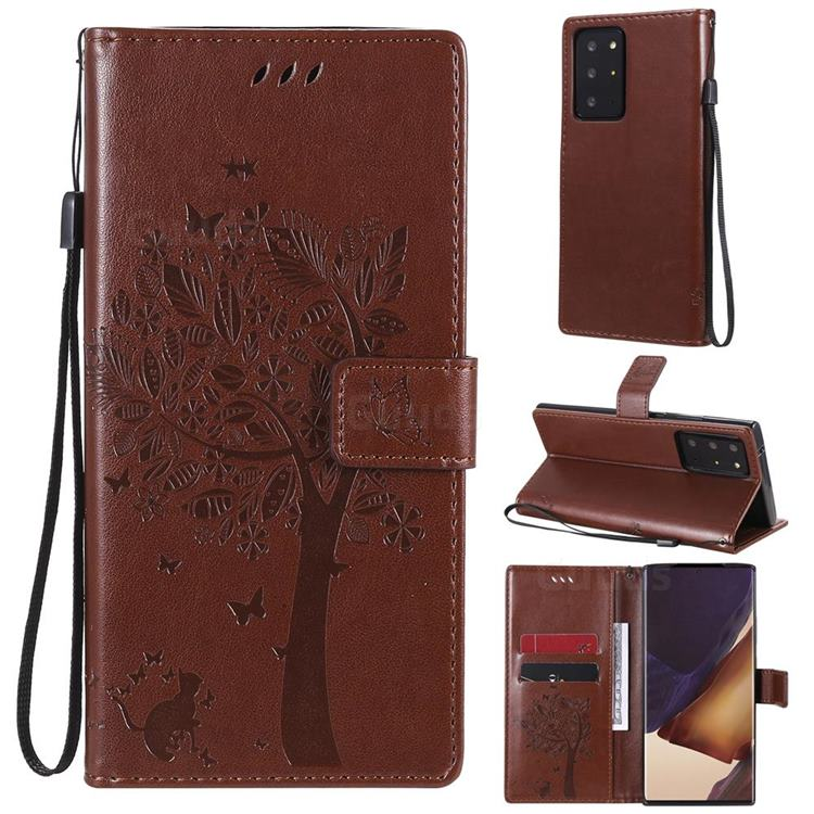 Embossing Butterfly Tree Leather Wallet Case for Samsung Galaxy Note 20 Ultra - Coffee