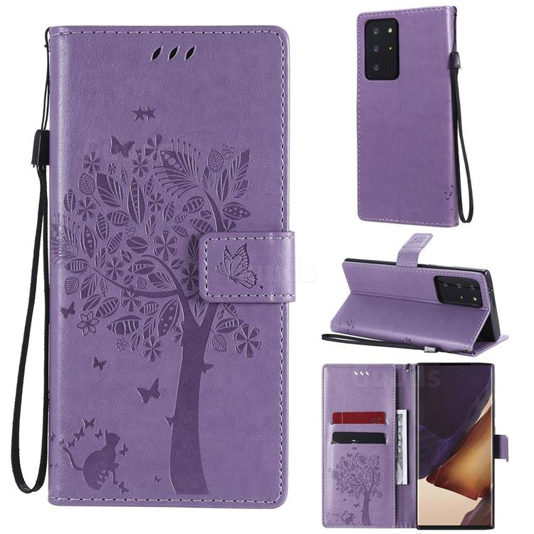 Embossing Butterfly Tree Leather Wallet Case for Samsung Galaxy Note 20 Ultra - Violet