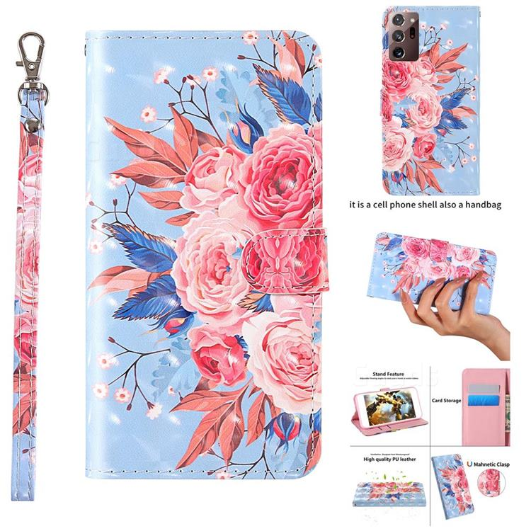 Rose Flower 3D Painted Leather Wallet Case for Samsung Galaxy Note 20 Ultra