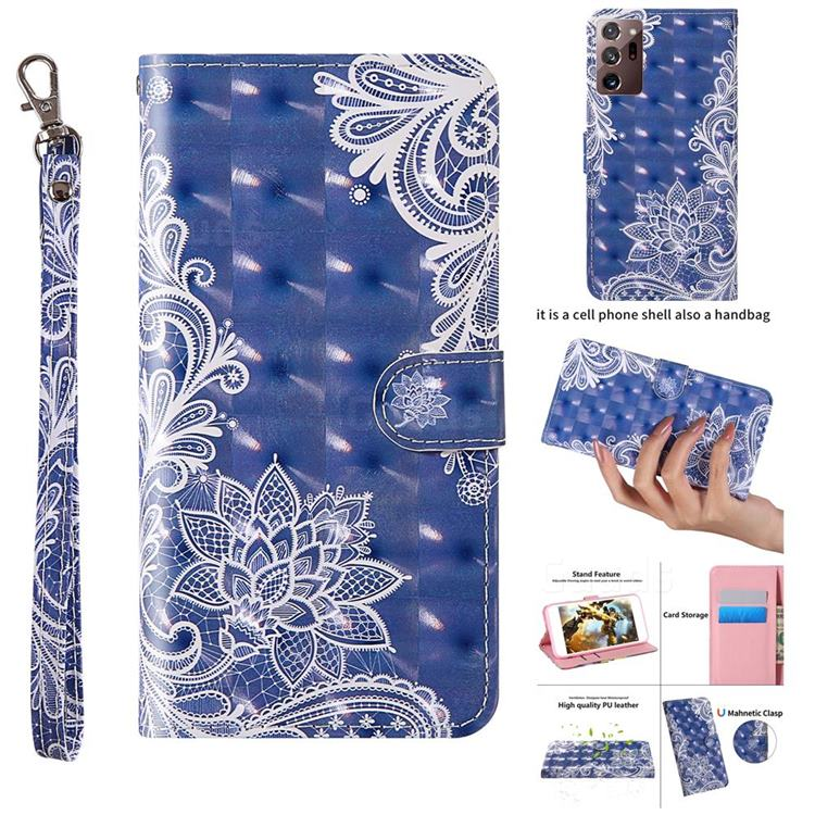 White Lace 3D Painted Leather Wallet Case for Samsung Galaxy Note 20 Ultra