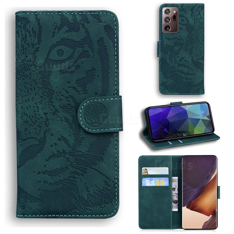 Intricate Embossing Tiger Face Leather Wallet Case for Samsung Galaxy Note 20 Ultra - Green