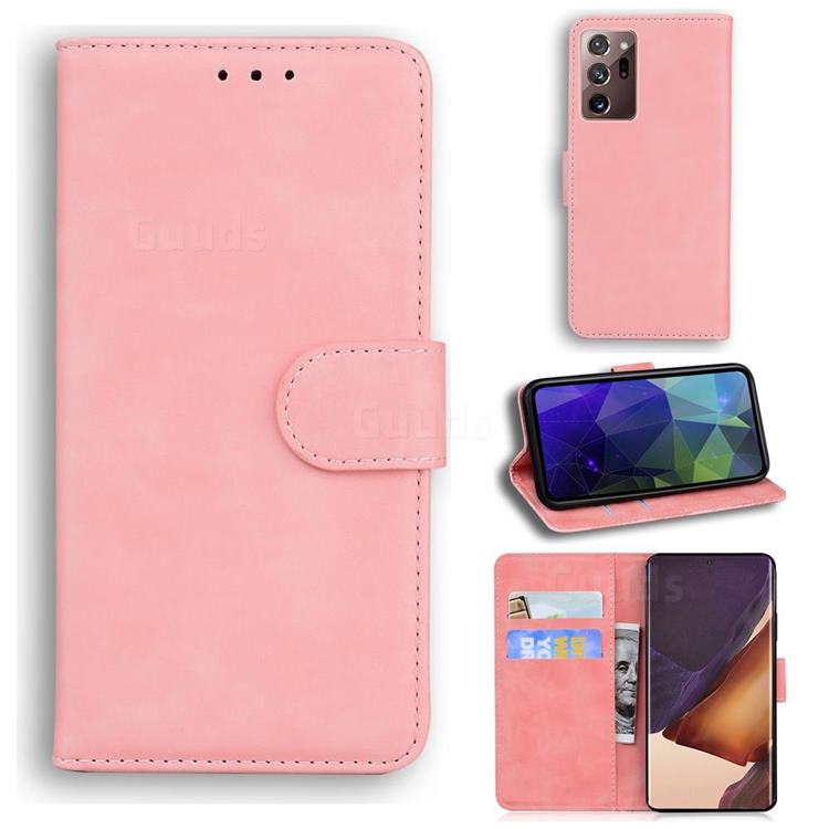 Retro Classic Skin Feel Leather Wallet Phone Case for Samsung Galaxy Note 20 Ultra - Pink