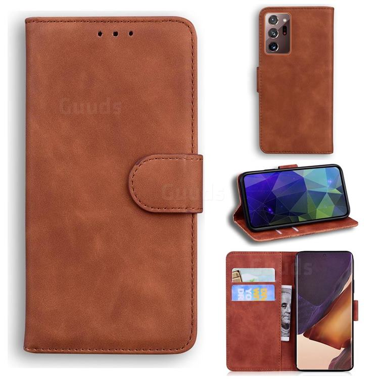 Retro Classic Skin Feel Leather Wallet Phone Case for Samsung Galaxy Note 20 Ultra - Brown
