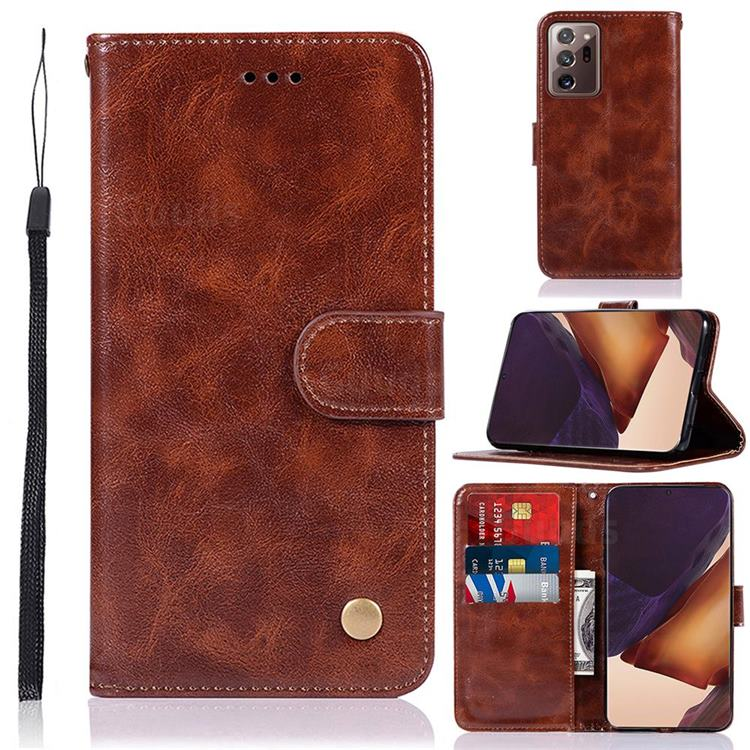 Luxury Retro Leather Wallet Case for Samsung Galaxy Note 20 Ultra - Brown