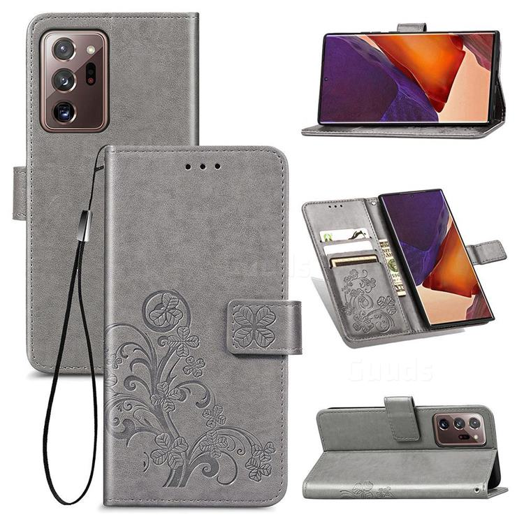 Embossing Imprint Four-Leaf Clover Leather Wallet Case for Samsung Galaxy Note 20 Ultra - Grey