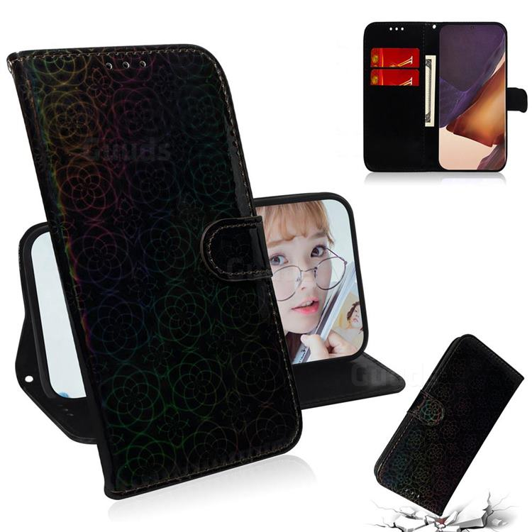 Laser Circle Shining Leather Wallet Phone Case for Samsung Galaxy Note 20 Ultra - Black