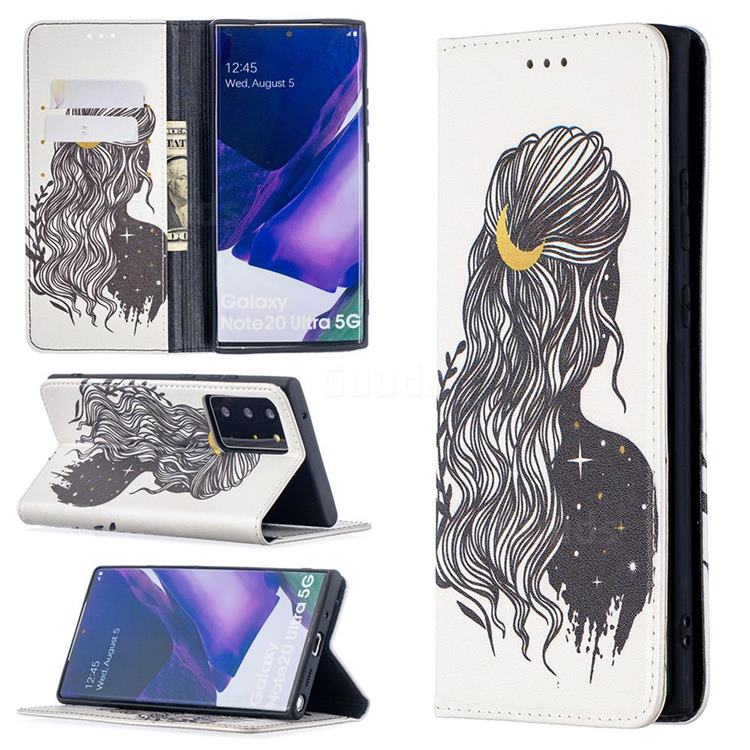 Girl with Long Hair Slim Magnetic Attraction Wallet Flip Cover for Samsung Galaxy Note 20 Ultra
