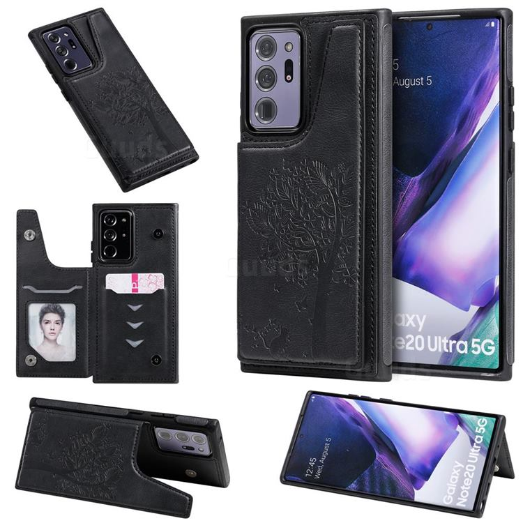 Luxury Tree and Cat Multifunction Magnetic Card Slots Stand Leather Phone Back Cover for Samsung Galaxy Note 20 Ultra - Black