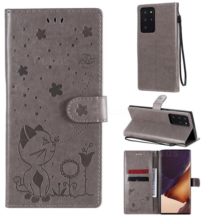 Embossing Bee and Cat Leather Wallet Case for Samsung Galaxy Note 20 Ultra - Gray
