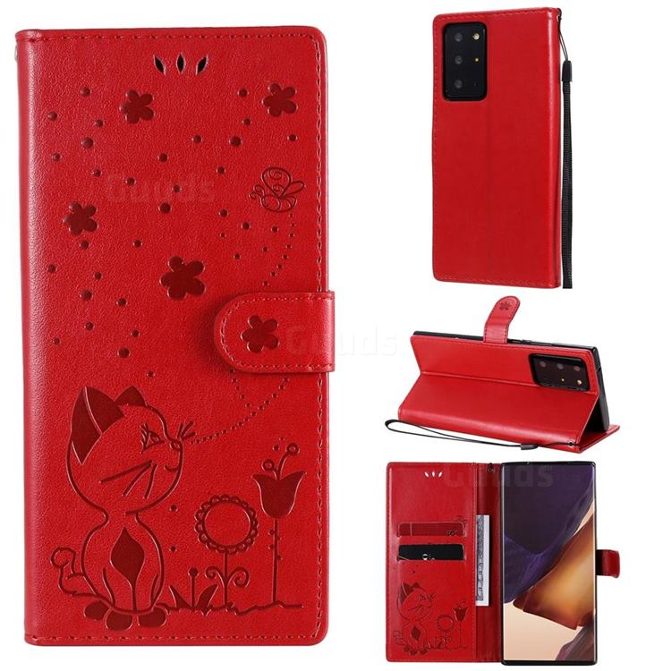 Embossing Bee and Cat Leather Wallet Case for Samsung Galaxy Note 20 Ultra - Red