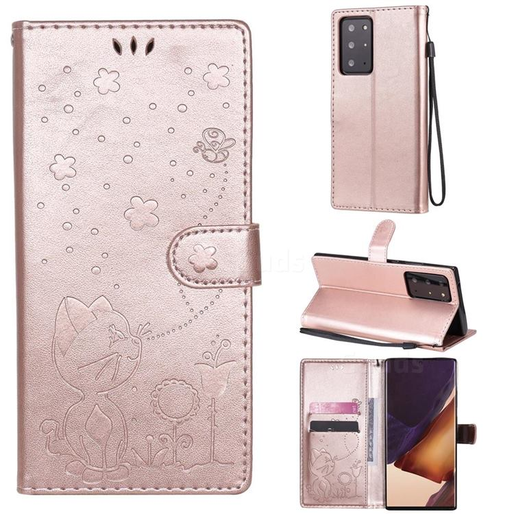 Embossing Bee and Cat Leather Wallet Case for Samsung Galaxy Note 20 Ultra - Rose Gold