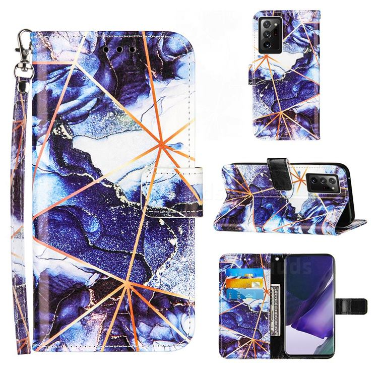 Starry Blue Stitching Color Marble Leather Wallet Case for Samsung Galaxy Note 20 Ultra