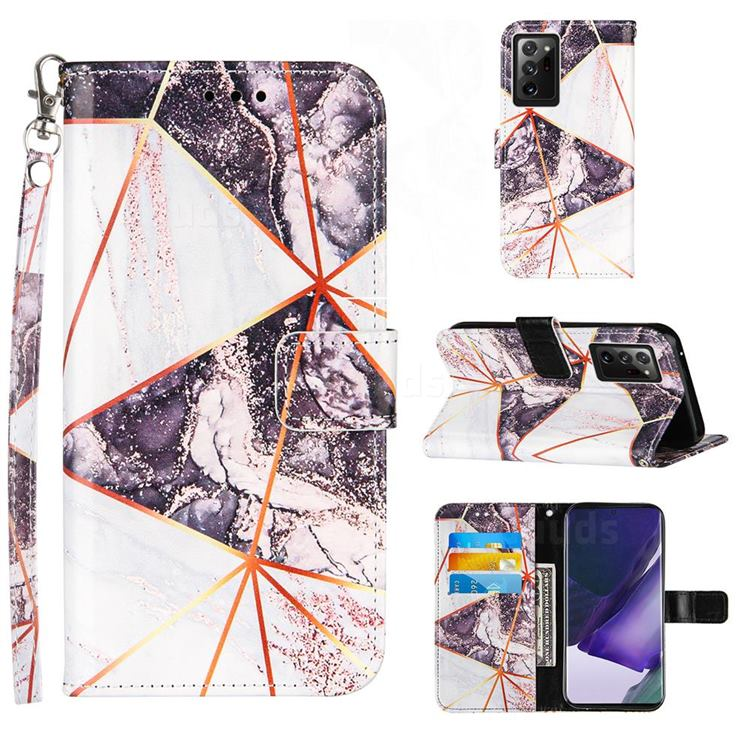 Black and White Stitching Color Marble Leather Wallet Case for Samsung Galaxy Note 20 Ultra