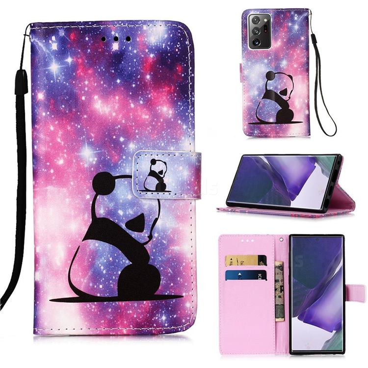 Panda Baby Matte Leather Wallet Phone Case for Samsung Galaxy Note 20 Ultra