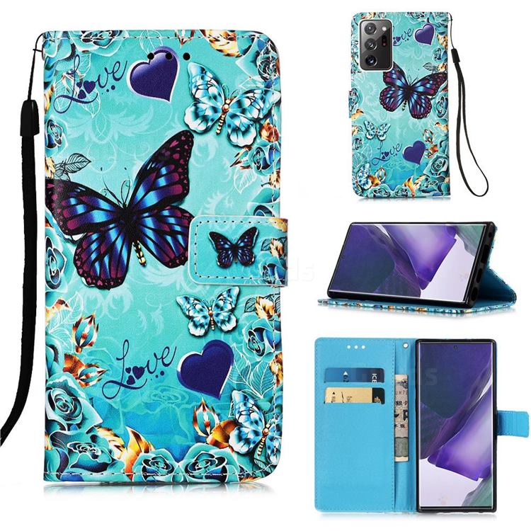 Love Butterfly Matte Leather Wallet Phone Case for Samsung Galaxy Note 20 Ultra