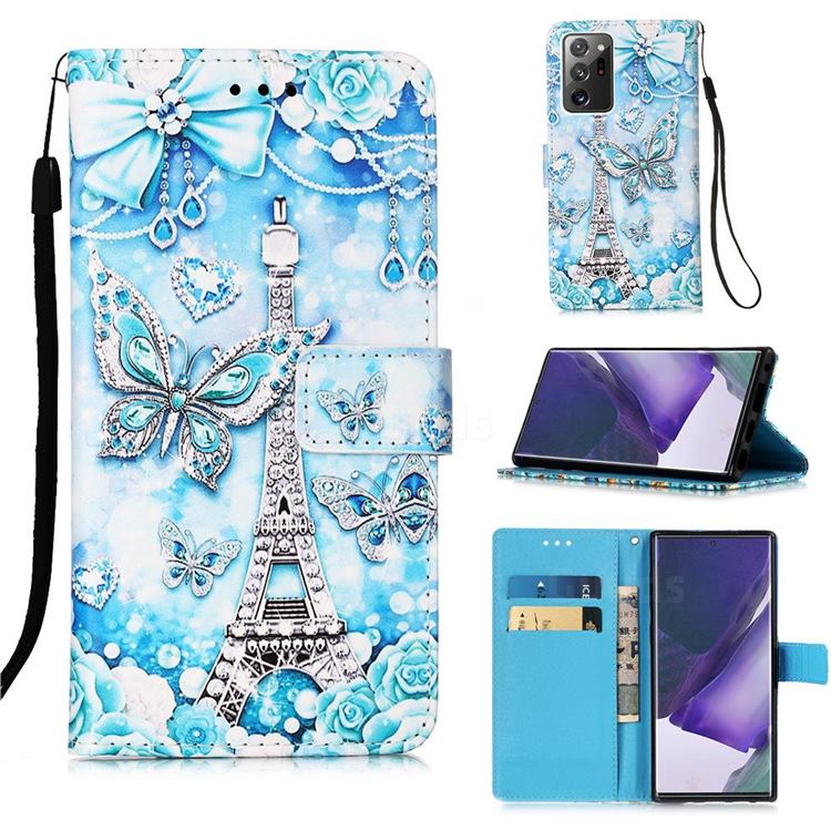 Tower Butterfly Matte Leather Wallet Phone Case for Samsung Galaxy Note 20 Ultra
