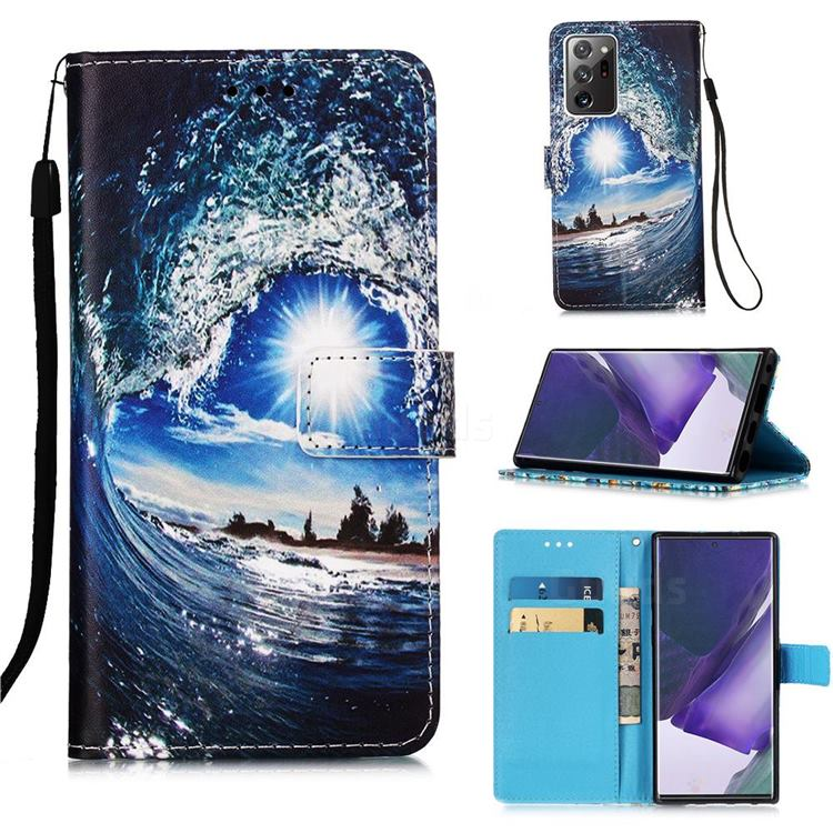 Waves and Sun Matte Leather Wallet Phone Case for Samsung Galaxy Note 20 Ultra