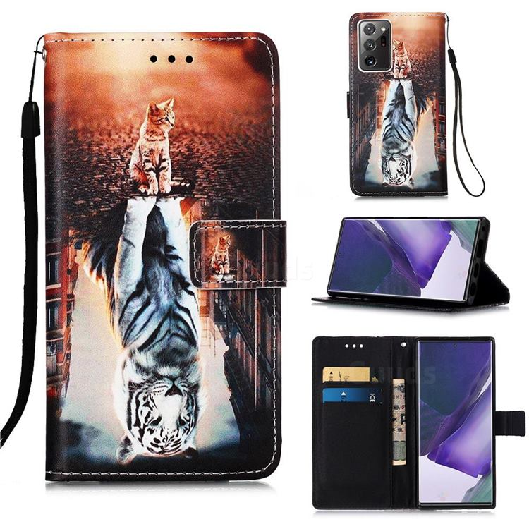 Cat and Tiger Matte Leather Wallet Phone Case for Samsung Galaxy Note 20 Ultra