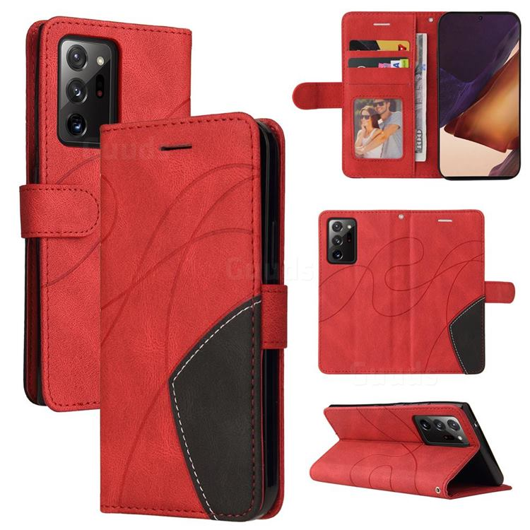 Luxury Two-color Stitching Leather Wallet Case Cover for Samsung Galaxy Note 20 Ultra - Red