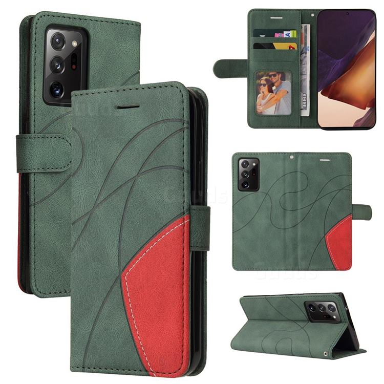 Luxury Two-color Stitching Leather Wallet Case Cover for Samsung Galaxy Note 20 Ultra - Green