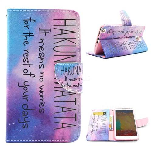 Star Hakuna Matata Leather Wallet Case for Samsung Galaxy Note 3 N9000 N9005