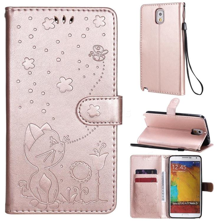 Embossing Bee and Cat Leather Wallet Case for Samsung Galaxy Note 3 N900 - Rose Gold