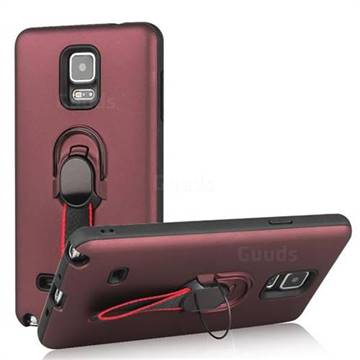 Raytheon Multi-function Ribbon Stand Back Cover for Samsung Galaxy Note 4 - Wine Red