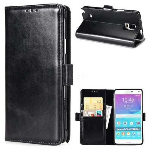 Luxury Crazy Horse PU Leather Wallet Case for Samsung Galaxy Note4 - Black