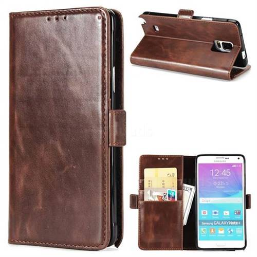 Luxury Crazy Horse PU Leather Wallet Case for Samsung Galaxy Note4 - Coffee