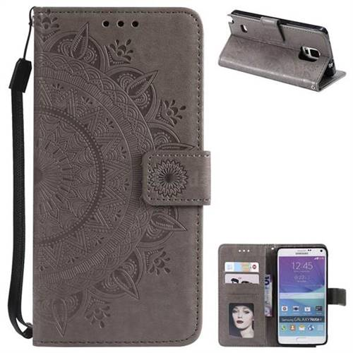 Intricate Embossing Datura Leather Wallet Case for Samsung Galaxy Note 4 - Gray