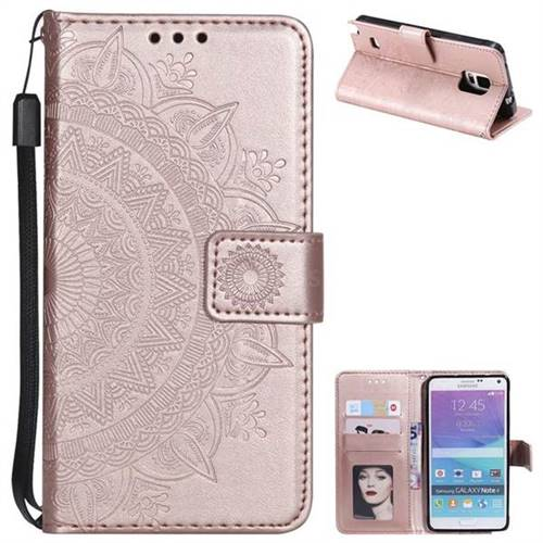 Intricate Embossing Datura Leather Wallet Case for Samsung Galaxy Note 4 - Rose Gold