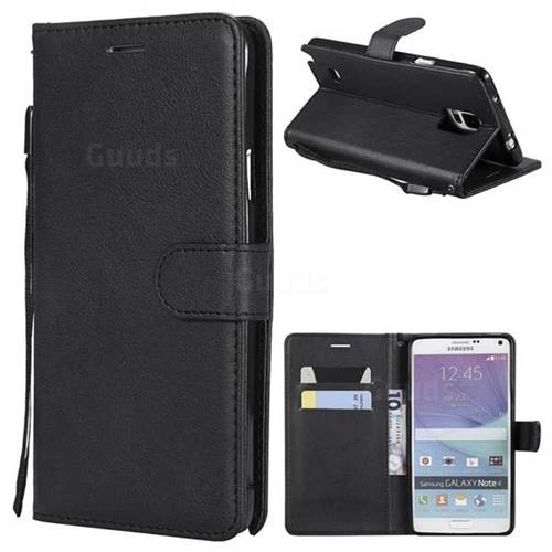Retro Greek Classic Smooth PU Leather Wallet Phone Case for Samsung Galaxy Note 4 - Black