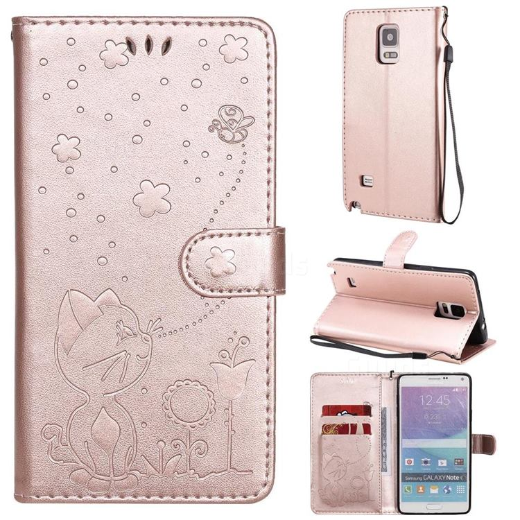 Embossing Bee and Cat Leather Wallet Case for Samsung Galaxy Note 4 - Rose Gold