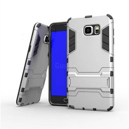 low priced e708f 53a3c Armor Premium Tactical Grip Kickstand Shockproof Dual Layer Rugged Hard  Cover for Samsung Galaxy Note 5 - Silver