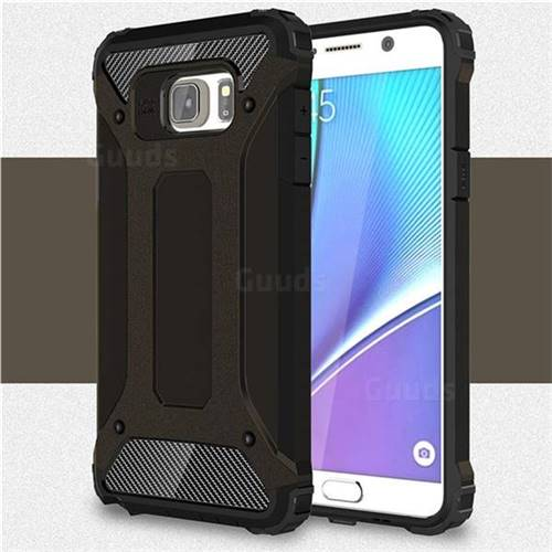 King Kong Armor Premium Shockproof Dual Layer Rugged Hard Cover for Samsung Galaxy Note 5 - Black Gold