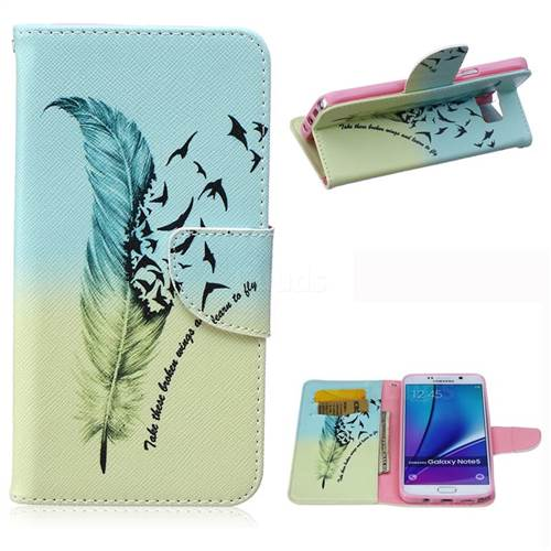 Feather Bird Leather Wallet Case for Samsung Galaxy Note 5