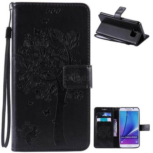 Embossing Butterfly Tree Leather Wallet Case for Samsung Galaxy Note 5 N920 - Black