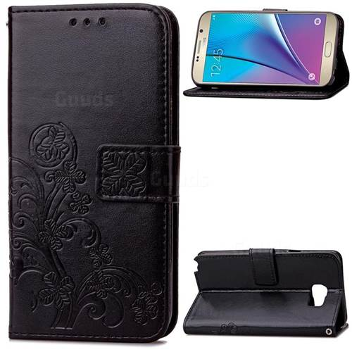 Embossing Imprint Four-Leaf Clover Leather Wallet Case for Samsung Galaxy Note 5 - Black