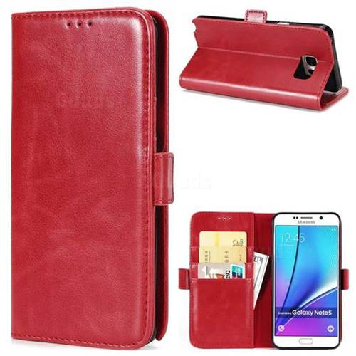 Luxury Crazy Horse PU Leather Wallet Case for Samsung Galaxy Note 5 - Red