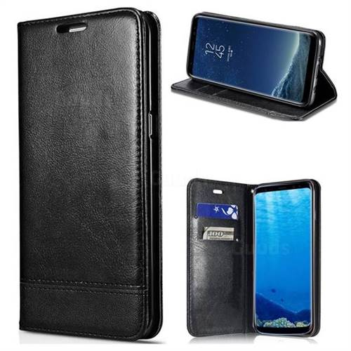 Magnetic Suck Stitching Slim Leather Wallet Case for Samsung Galaxy Note 5 - Black