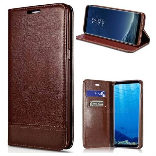 Magnetic Suck Stitching Slim Leather Wallet Case for Samsung Galaxy Note 5 - Brown